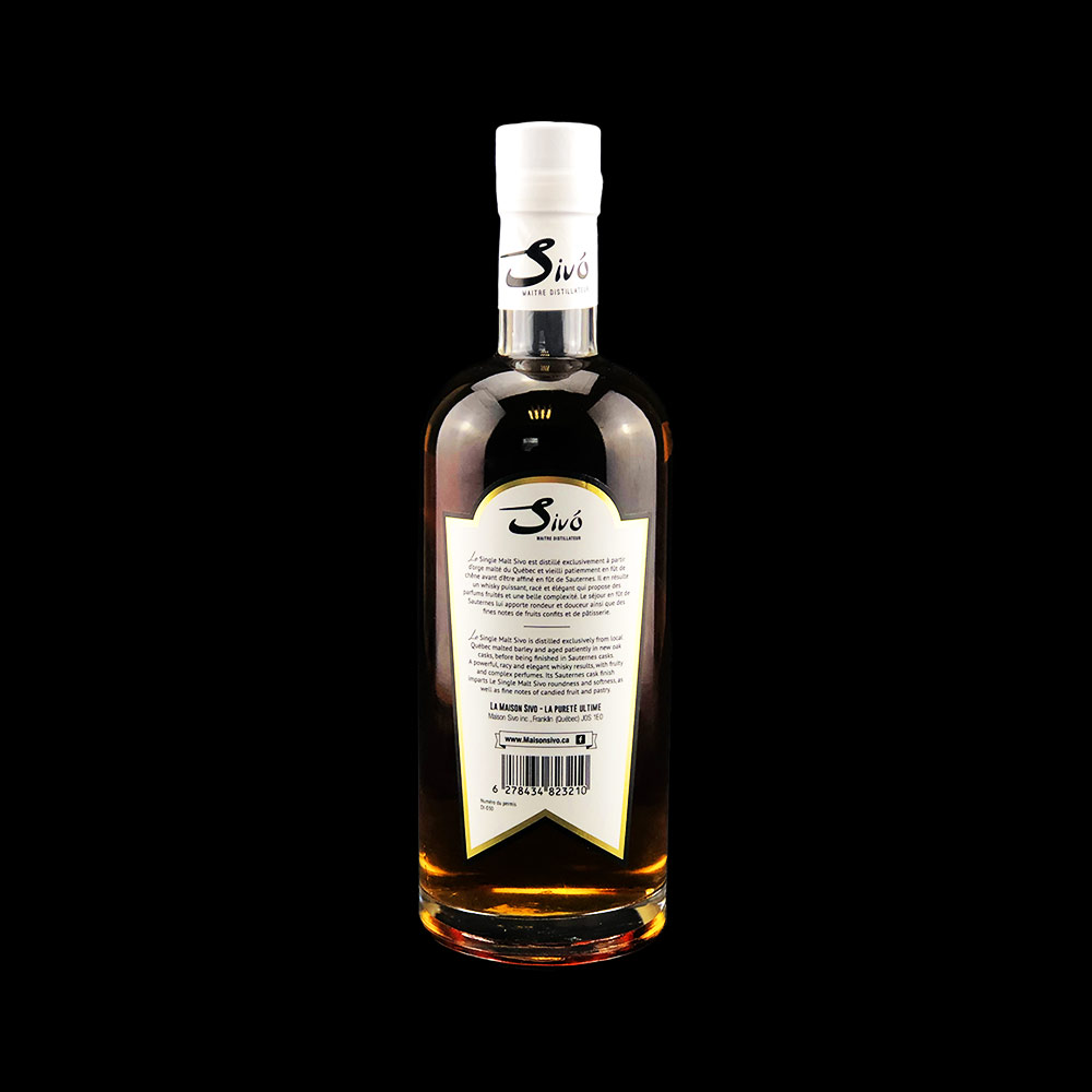 Whisky single malt - Bouteille 750ml - Sivo - Verso